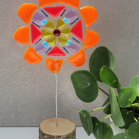 Bright Retro Fused Glass Flower