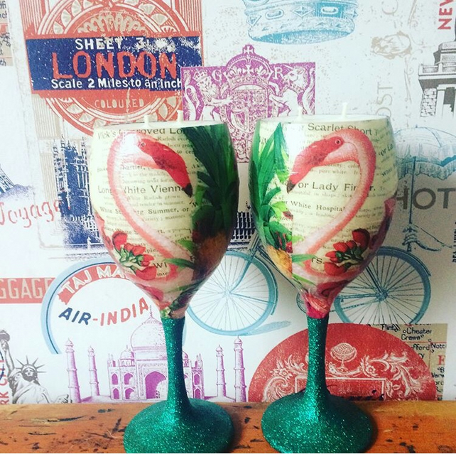 Pair of flamingos  Candles