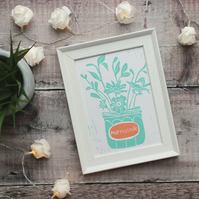 Blue flowers in a marmalade jar lino print