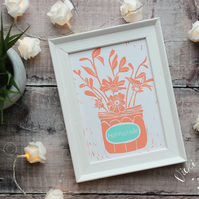 Orange flowers in a marmalade jar lino print