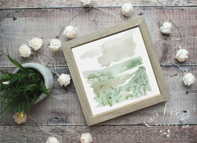 Landscape with flowers VIII watercolour print