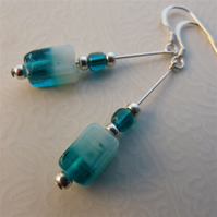 Sterling silver and two tone glass beads earrings
