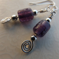 Sterling silver and mauve glass beads