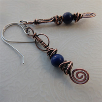 Copper earrings with lapis lazuli beads