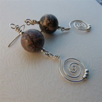 Leopardskin jasper and sterling silver earrings