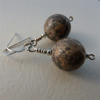 Sterling silver earrings with semi-precious leopardskin jasper beads