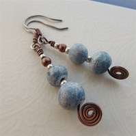 Copper earrings with handpainted clay beads