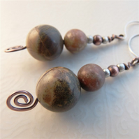 Silver leaf agate and copper earrings