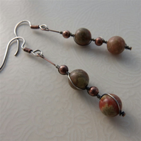 Copper and sterling silver wrapped bead earrings
