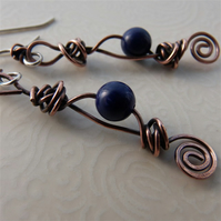 Lapis lazuli and copper earrings