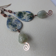 Copper enamelled earrings with sage green semi-precious stones