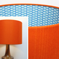 Original Retro Fabric Lampshade, 60's, 70's, 30cm, Drum, Orange, Blue, Geometric