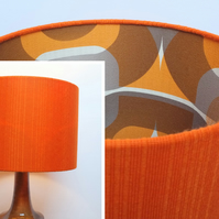 Retro Fabric Lampshade, Original 70's, 30cm Drum, Orange, Geometric, Brown