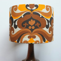 Retro Fabric Lampshade, Original 70's, 30cm Drum, Yellow, Brown, Geometric