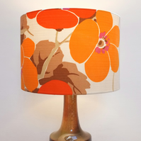 Original Retro Fabric Lampshade, 70's, 30cm, Drum, Orange, White, Brown, Floral