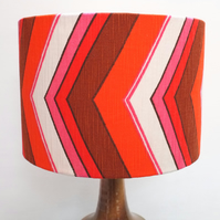 Original Retro Fabric Lampshade, 70's, 30cm Drum, Pink, Red, White, Geometric