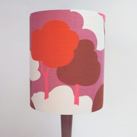 Original Retro Fabric Lampshade, 70's, 25cm, Extra Tall Drum, Pink, Red, White