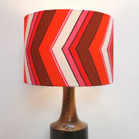 Original Retro Fabric Lampshade, 70's, 30cm, Drum, Pink, Red, White, Geometric