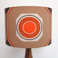 Original Retro Fabric Lampshade, 70's, 30cm, Drum, Orange, Brown, Geometric