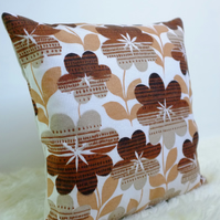 "Retro Cushion Cover, Original 60s 70s Fabric, 16x16"" Floral Brown Geometric"