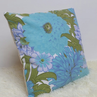 "Retro Cushion Cover, Original 60s 70s Fabric, 16x16"" Floral Blue Green Geometric"