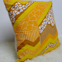 "Retro Cushion Cover, Original 80s 70s Fabric, 16x16"" Yellow Orange Geometric"