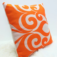 "Retro Cushion Cover, Original 60s 70s Fabric, 18""x18"" Orange Geometric Boho"