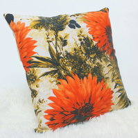 "Retro Cushion Cover, Original 60s 50s Fabric, 16x16"" Floral Brown Red"
