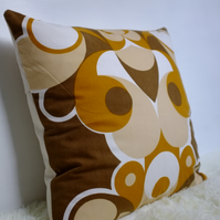 "Retro Cushion Cover, Original 60s,70s Fabric, 20x20"" Brown Geometric"