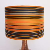Original Retro Fabric Lampshade, 70's, 30cm, Drum, Orange, Gold, Striped, Black