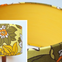 Original Retro Fabric Lampshade, 60's 70's, Lined 30cm 40cm Drum, Yellow, Floral