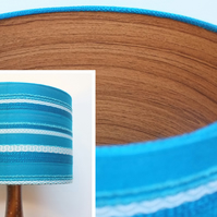 Original Retro Fabric Lampshade, 60's 70's, 30cm, Drum, Blue, Striped, Teak