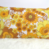 "Retro Cushion Cover, Original 80s 70s Fabric, 18""x12"" Yellow Orange Floral VW"
