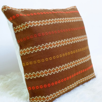 "Retro Cushion Cover, Original 60s 70s Fabric, 16x16"" Brown Orange Boho"