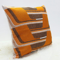 "Retro Cushion Cover, Original 60s 70s Fabric, 20x20"" Brown Orange Geometric"