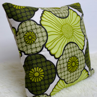 "Retro Cushion Cover, Original 60s 70s Fabric, 16x16"" Green Floral Campervan VW"