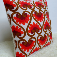 "Retro Cushion Cover, Original 60s 70s Fabric, 16x16"" Pink Red Brown Scandi"