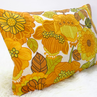 "Retro Cushion Cover, Original 60s 70s Fabric, 12x18""  Floral Yellow Campervan VW"