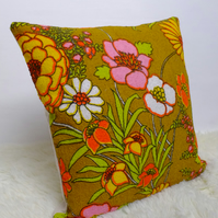 "Retro Cushion Cover, Original 60s 70s Fabric, 16x16"" Floral Green Pink"