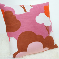 "Retro Cushion Cover, Original 60s 70s Fabric, 16x16"" Pink White Brown"