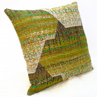 "Retro Cushion Cover, Original 60s 70s German Fabric, 16x16"" Green Campervan VW"