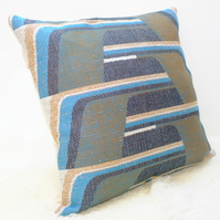 "Retro Cushion Cover, Original 60s 70s Fabric, 20x20"" Blue Geometric"