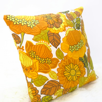 "Retro Cushion Cover, Original 60s 70s Fabric, 16x16""  Floral Yellow Campervan"