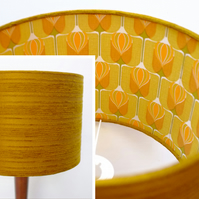 Original Retro Fabric Lampshade, 60's 70's, Lined 30cm Drum Orange Geometric
