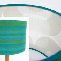 Original Retro Fabric Lampshade, 60's 70's, 30cm Drum Blue Green Geometric