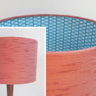 Original Retro Fabric Lampshade, 60's 70's, 30cm Drum Pink Blue Geometric