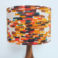 Retro Fabric Lampshade, Original 50's, 30cm Drum, Red, Orange, Blue, Geometric