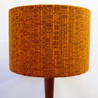 Retro Fabric Lampshade, Original 60s 70s, 30cm Drum, Brown, Orange, Boho
