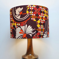 Retro Fabric Lampshade, Original 80s 70s, 30cm Drum, Red, Orange, Geometric
