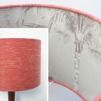 Original Retro Fabric Lampshade, 60's 70's, 30cm, Drum, Pink, Grey, Palm Trees